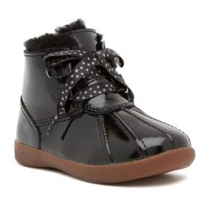 UGG • Girls Black Patent Leather Boots 8